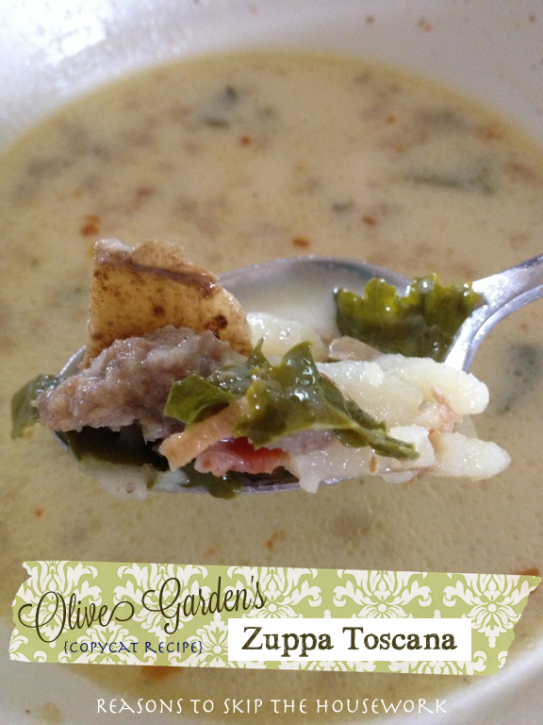Zuppa Toscana {Reasons To Skip The Housework} Copycat Olive Garden