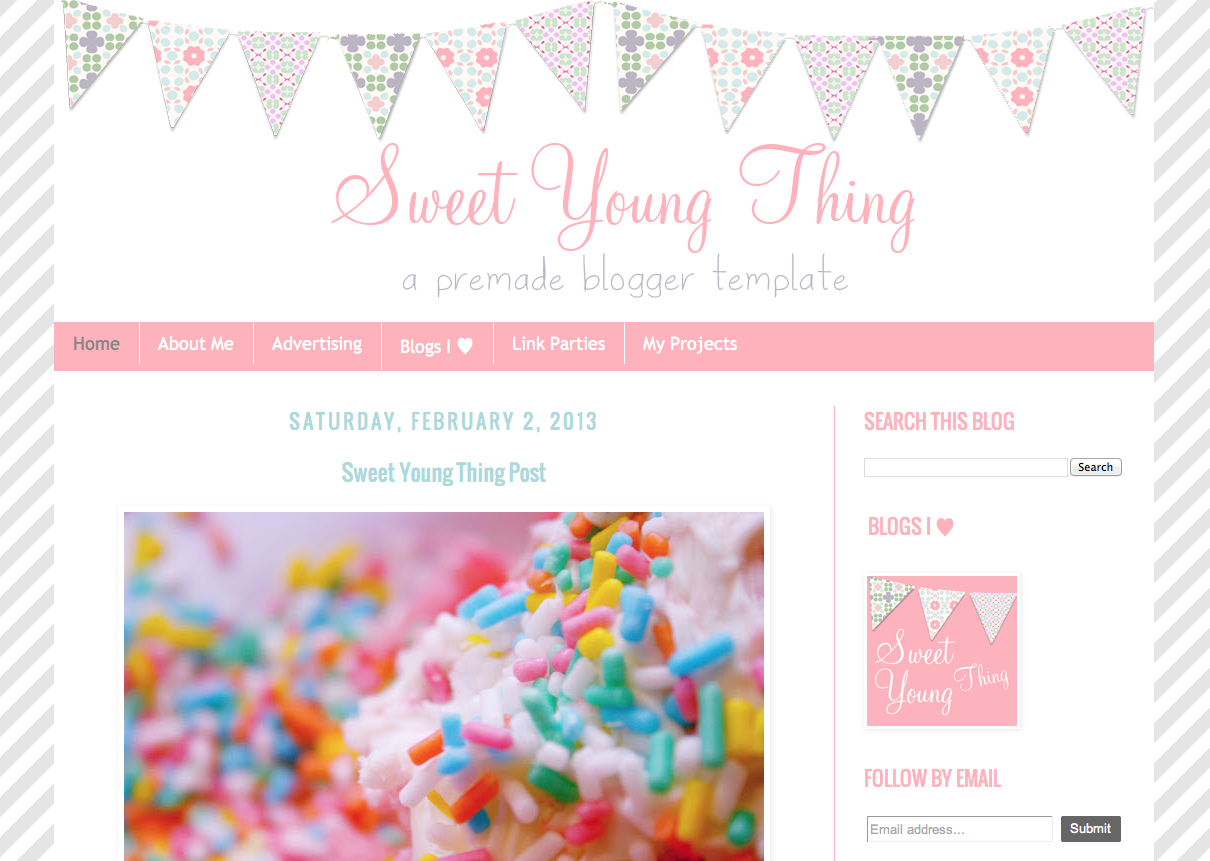 Sweet Young Thing Premade Template {Blogger}