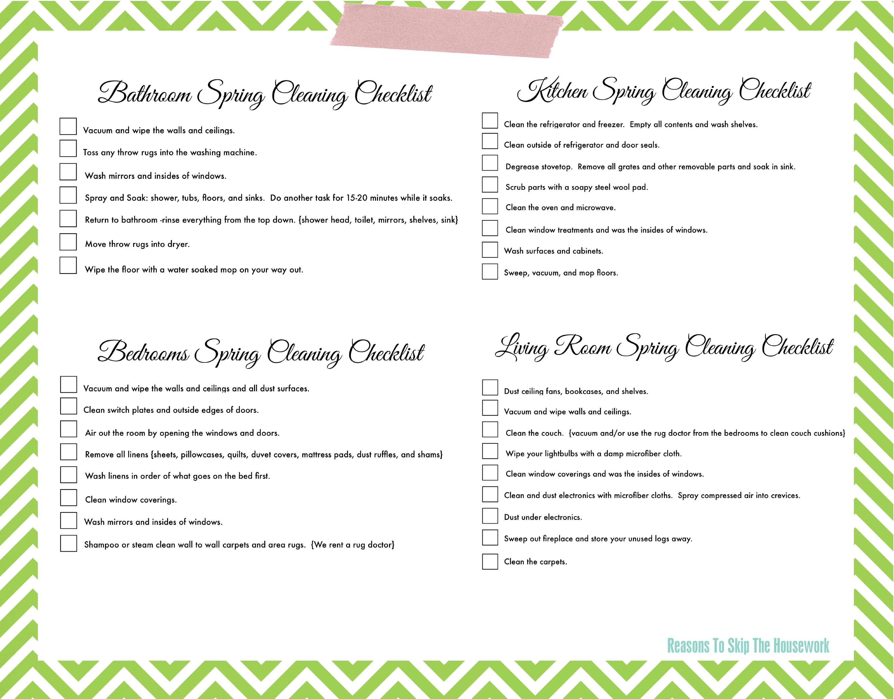 Lazy Girls Spring Cleaning Checklist FREE PRINTABLE – Sample Spring Cleaning Checklist