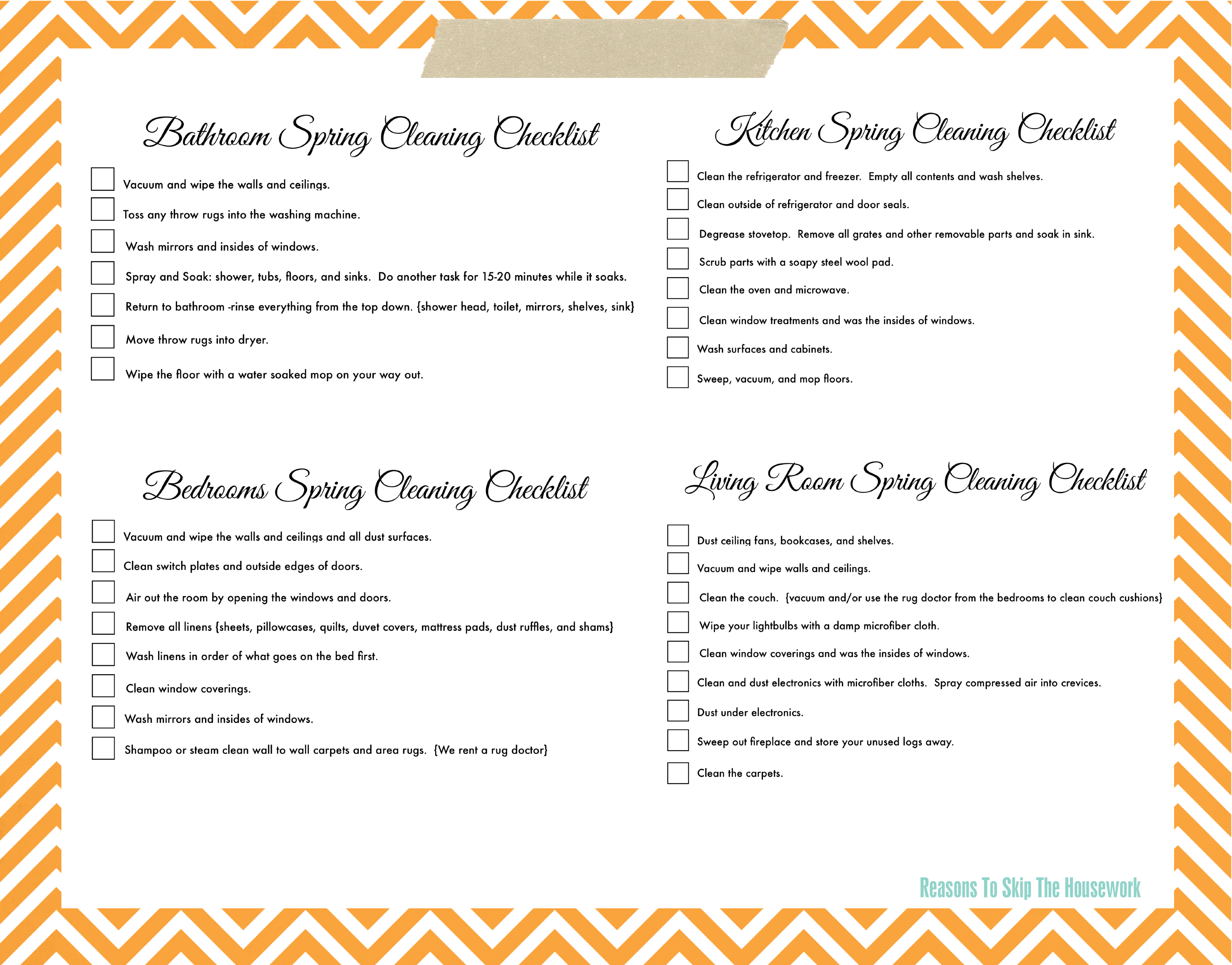 lazy girl s spring cleaning checklist free printable