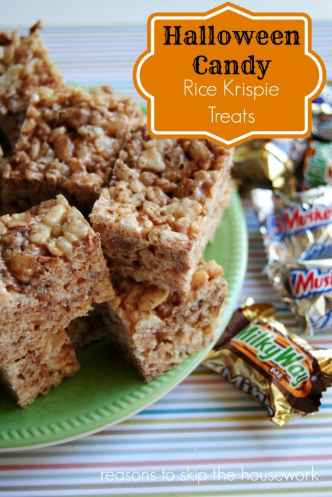 Leftover Halloween Chocolate Candy Rice Krispie Treats