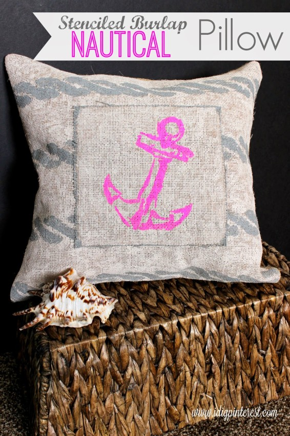 1 Stenciled Burlap Nautical Pillow