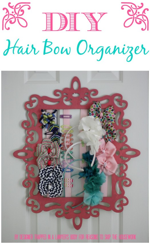 MUST PIN!  DIY hair bow and headband organizer by Designer Trapped in a Lawyer's Body for Reasons to Skip the Housework.  #boworganizer