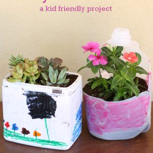 Use recycled plastic containers to make fun planters with the kids #succulents #spring #planter #kidcraft