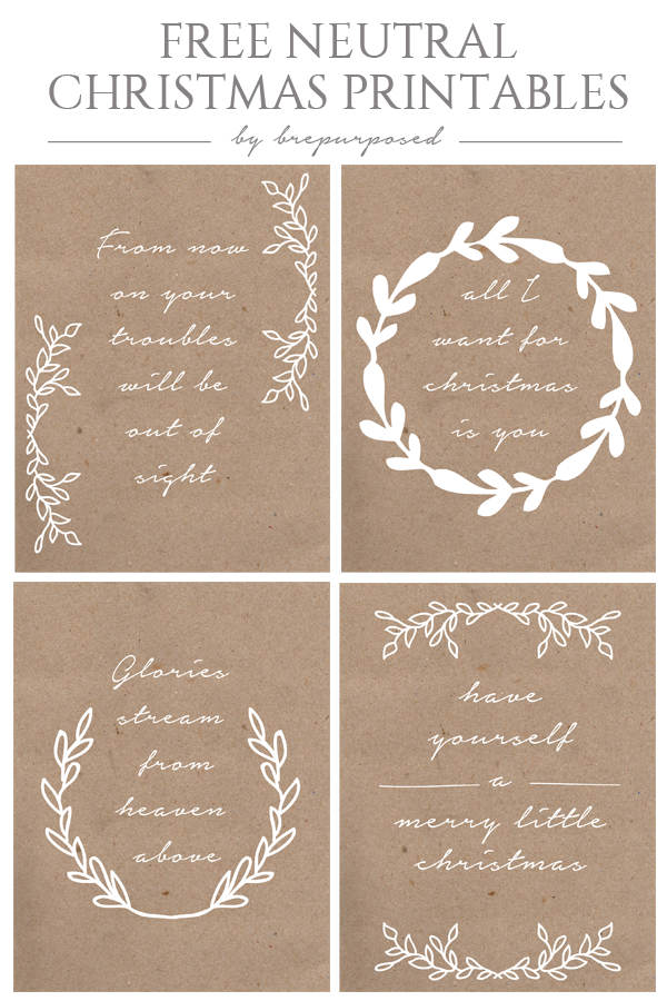 Free Neutral Christmas Printables