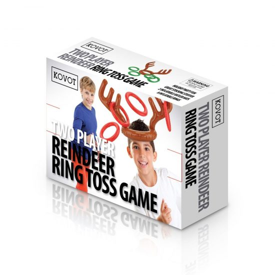 Two-Player Inflatable Reindeer Ring Toss Game - Game Rules Included (2 Antlers 8 Rings)