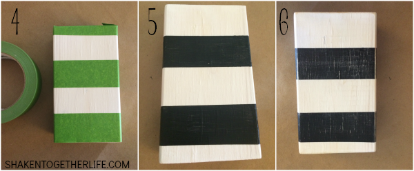 How to Make a Striped Wood Block Display - steps 4 through 6