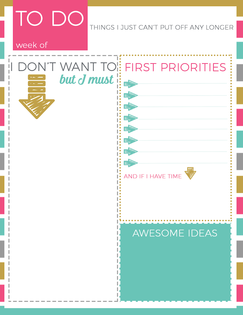 Dynamic image inside cute printable to do list