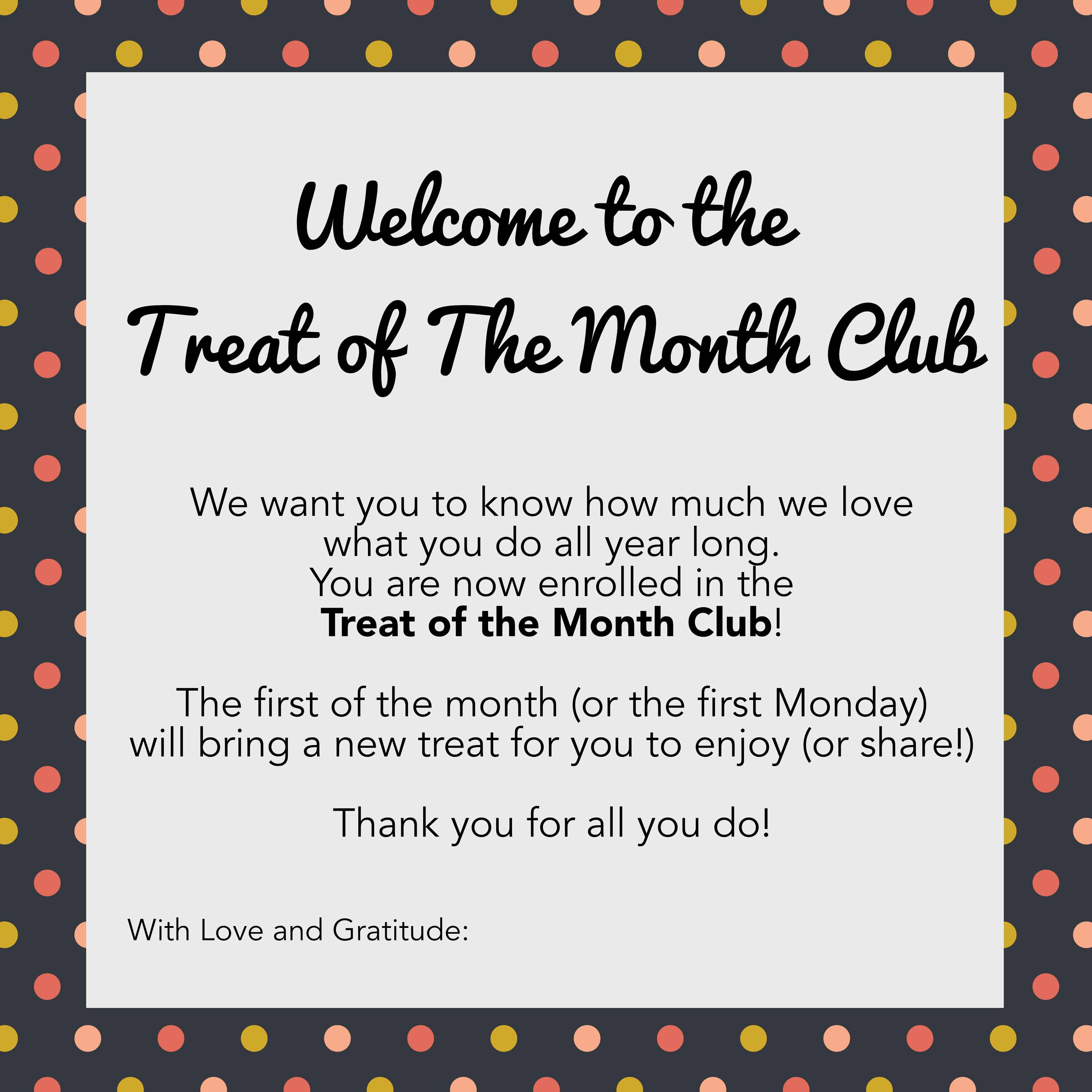 Treat of the Month Cards