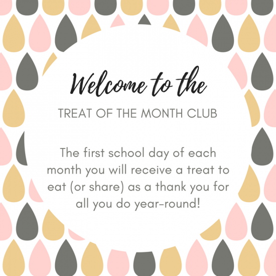 Treat of the Month Cards are the perfect way to give a gift to friends, neighbors, or teachers. 4 sets of cards to choose from for a year of printable cards to accompany any treats.