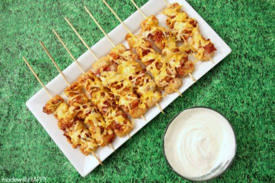 Tater Tot Skewers :When you head out to your parties, make sure you have some great Christmas Party Food with you!