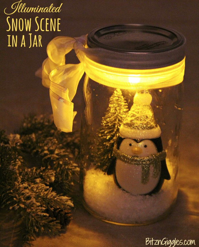 Snow Scene: The holidays are here and there are so many different gift and decor ideas to bring lots of cheer! There are so many Mason Jar Crafts to make this holiday!