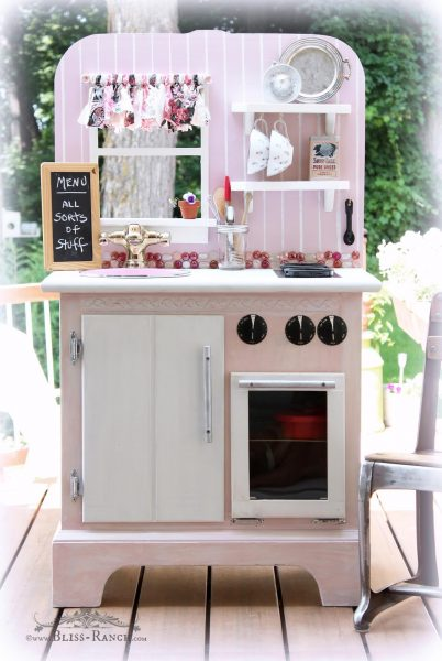 These adorable kitchens range from updates to an old play kitchen, a thrift store up cycle, and building a custom kitchen.