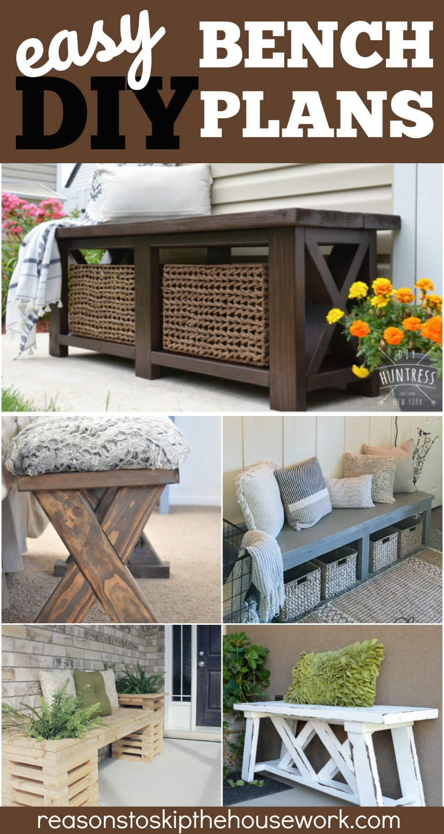 DIY Benches that are simple to make, are less expensive than brand name pieces, and make a big statement in any room