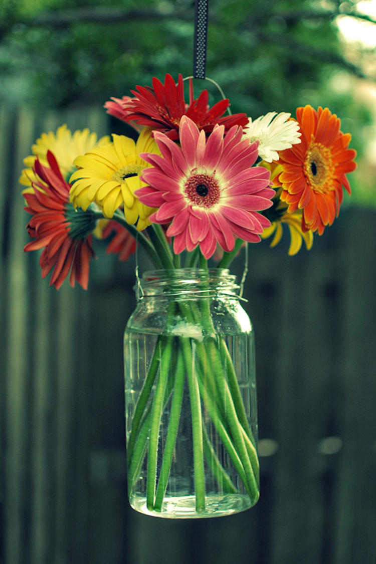 Mason Jar Hanging Flowers