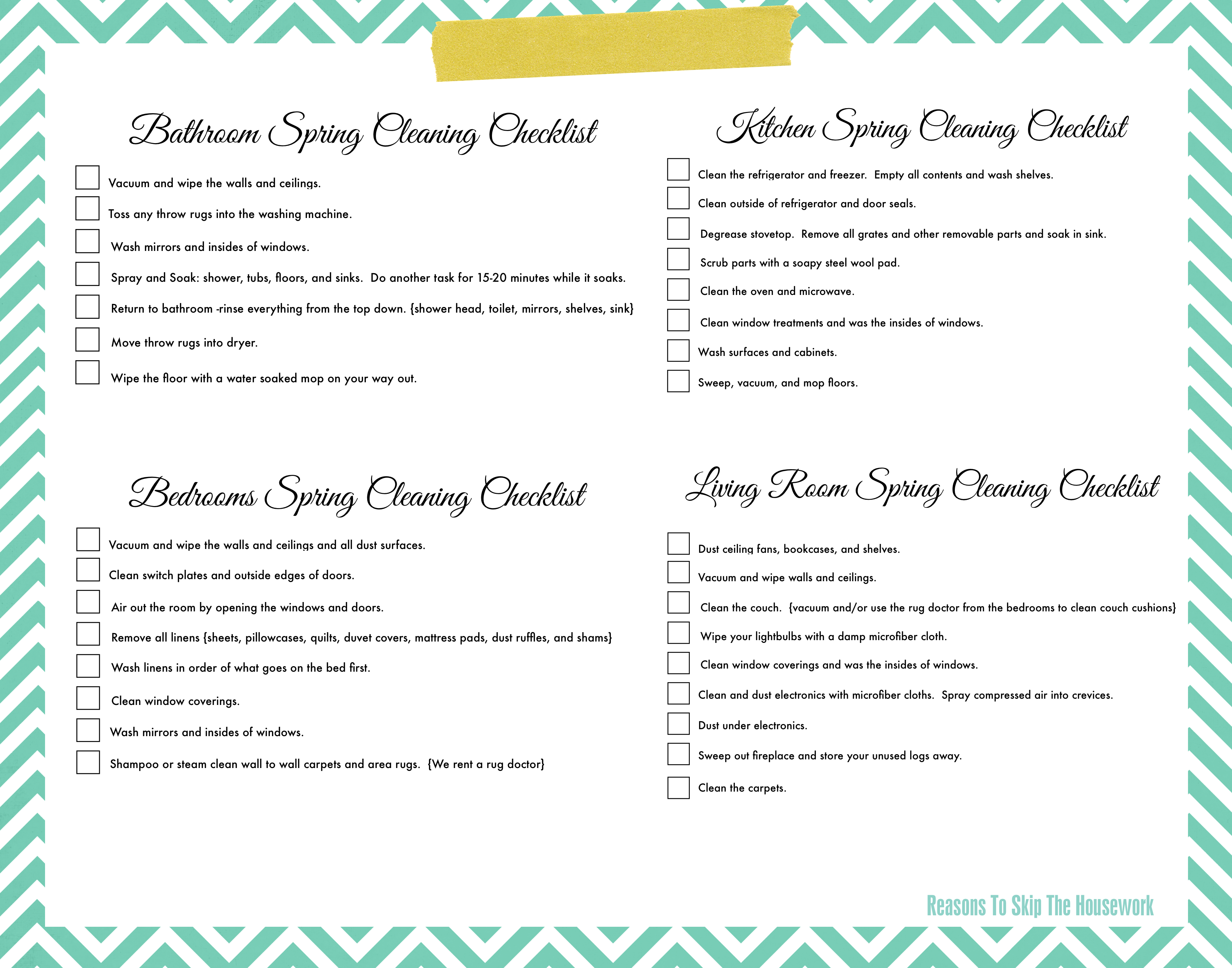 Spring Cleaning List Lazy Girl's Spring Cleaning Checklist Free Printable