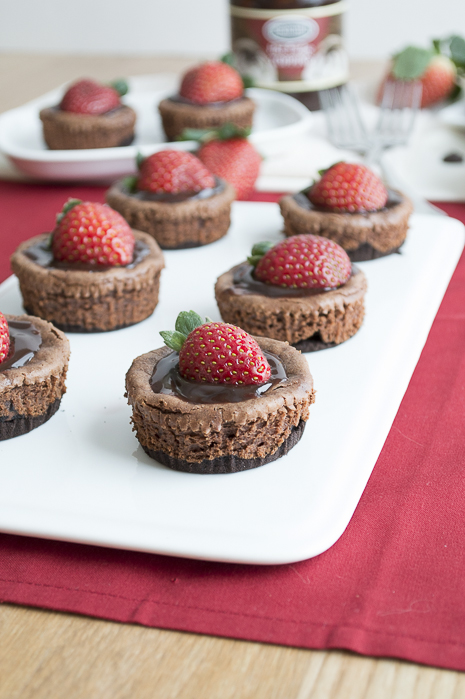 Mini Chocolate Strawberry Cheesecakes :: The First Year Blog