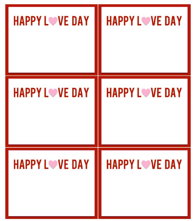 Happy Love Day Printable