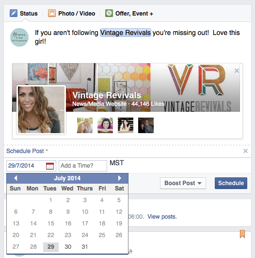 how to schedule a Facebook page share