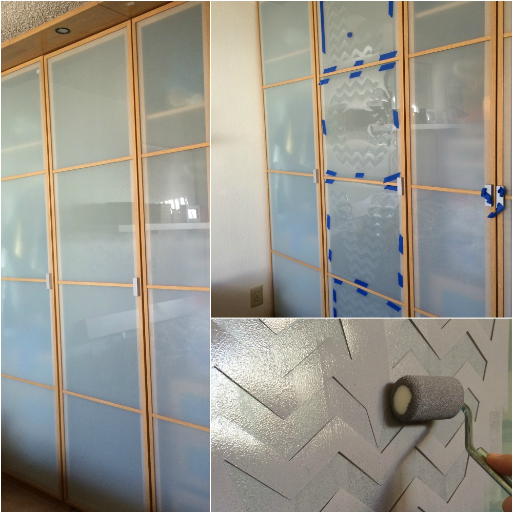 stenciled closet doors