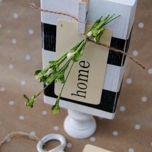 Striped Wood Block Display - perfect for photos, small keepsakes, wedding table numbers or even a monogram!
