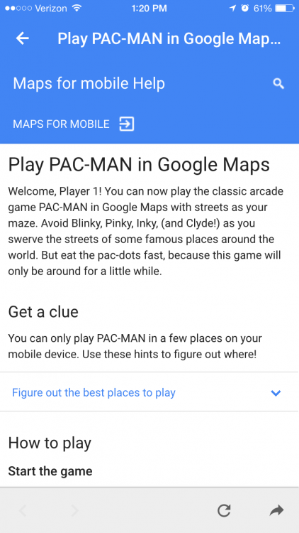 play pac man in google