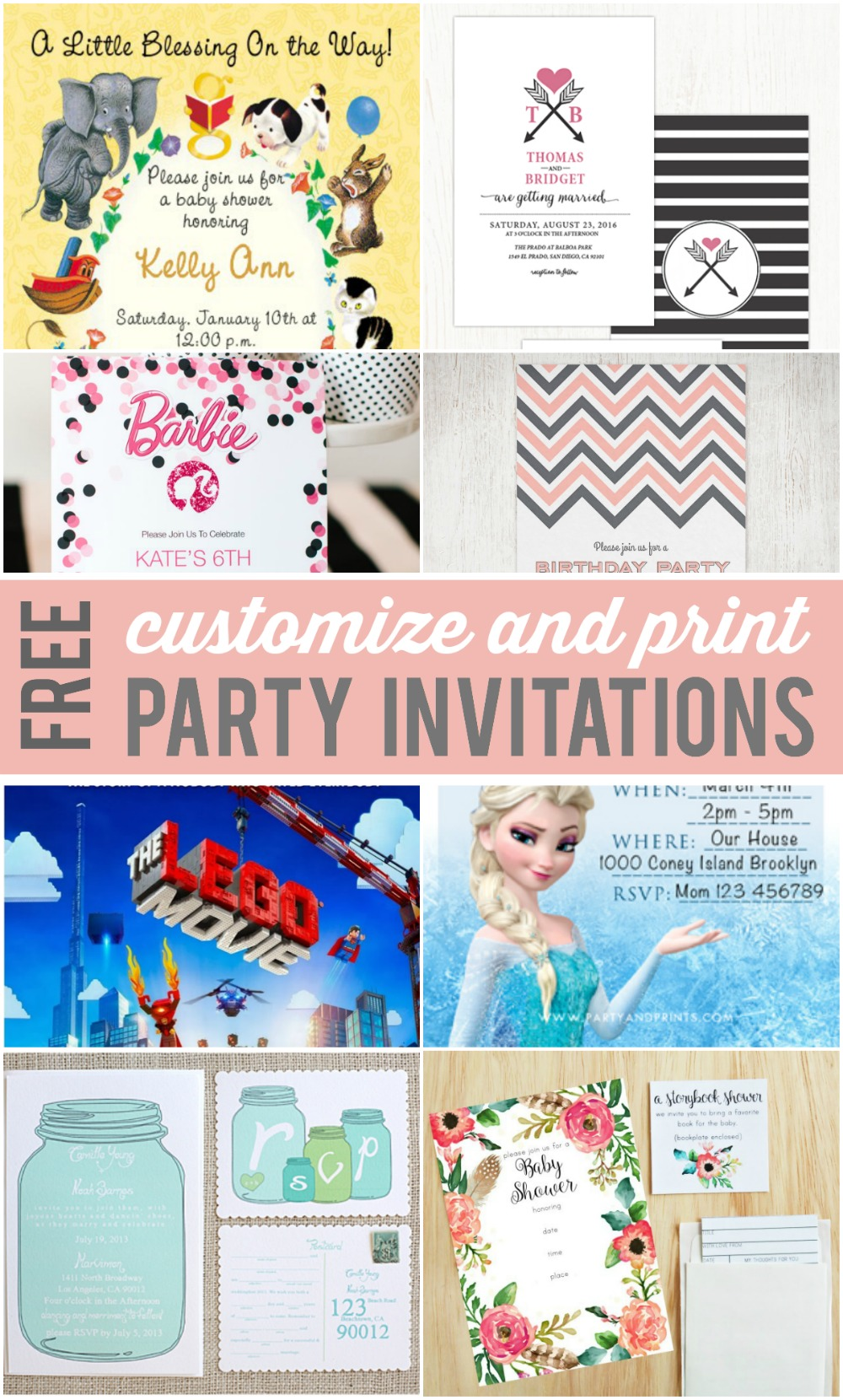 Customizable Party Invitations - REASONS TO SKIP THE HOUSEWORK