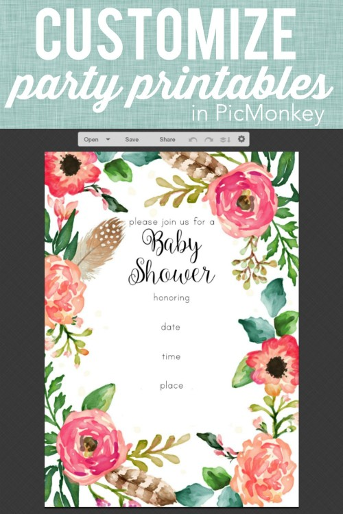 customize party printables