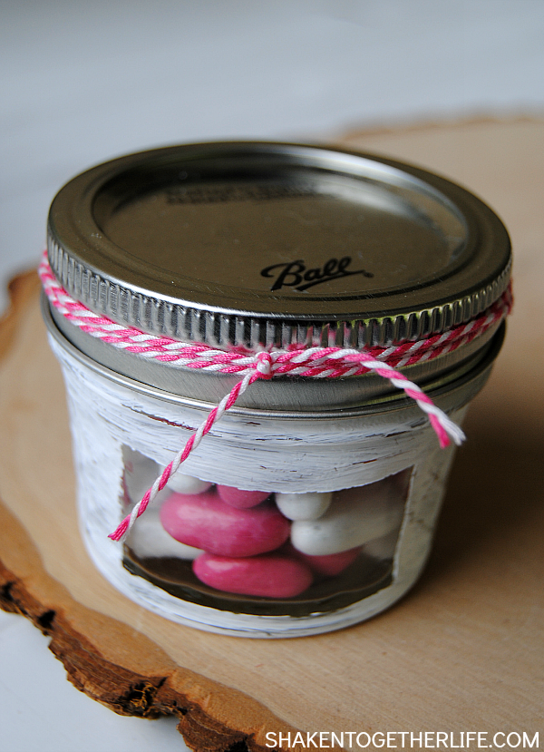Peek-a-boo Mason Jar Candy Holders - love those little windows so you can see what is inside! Perfect for teacher gifts and Mothers Day!