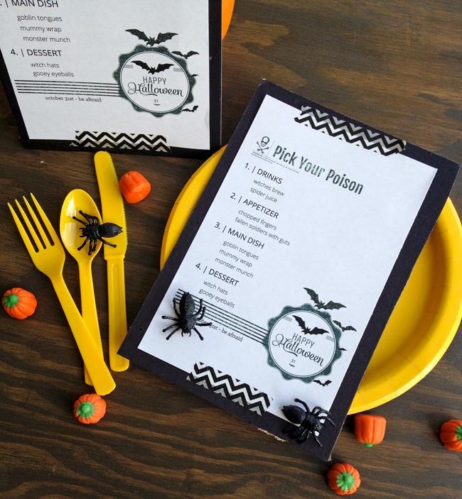 Halloween Dinner Menu
