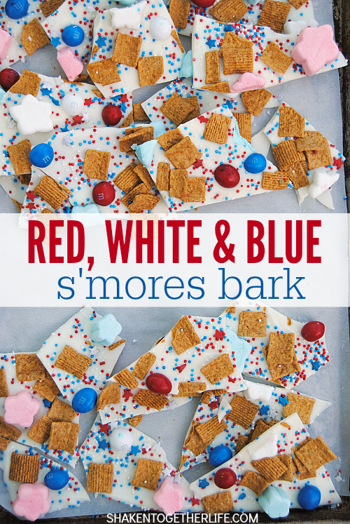 Packed with the classic of s'mores but all dressed up for the 4th of July, this Red, White & Blue S'mores Bark is SO festive and easy to make!