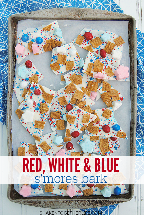 Packed with the classic flavors of s'mores but all dressed up for the 4th of July, this Red, White & Blue S'mores Bark is SO festive and easy to make!