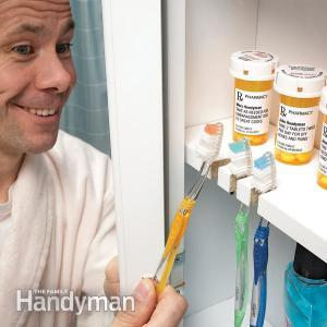 toothbrush storage inside cabinet
