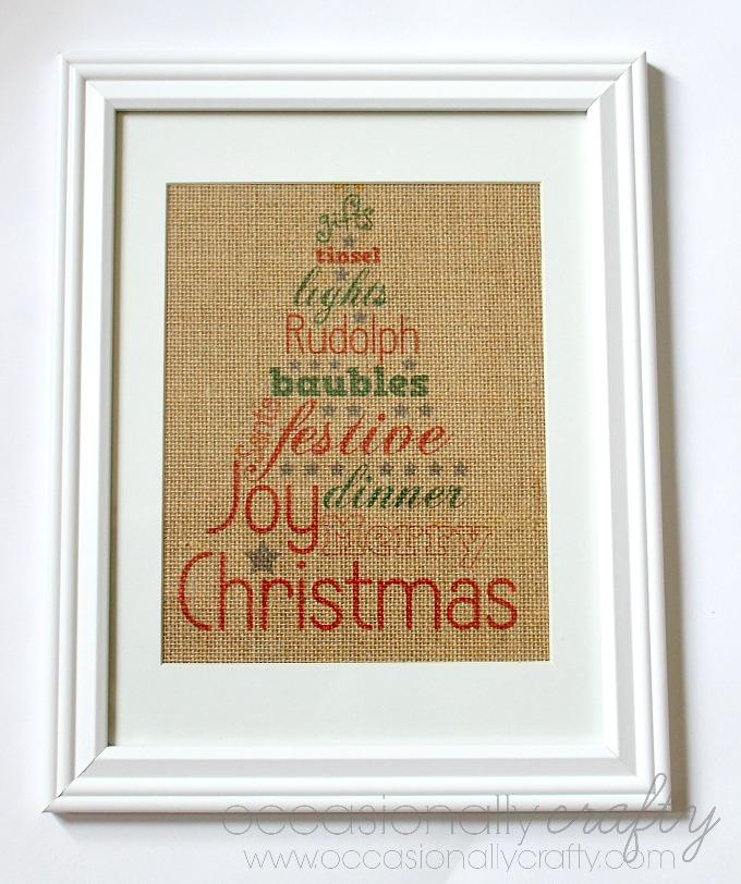 Printed Burlap Christmas Sign 2
