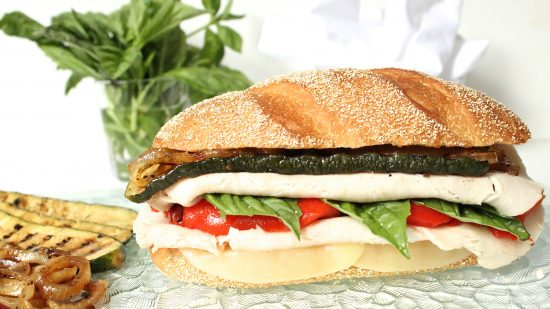 "alt=""Italian Turkey Sandwich with Marinated Zucchini and Onion"""