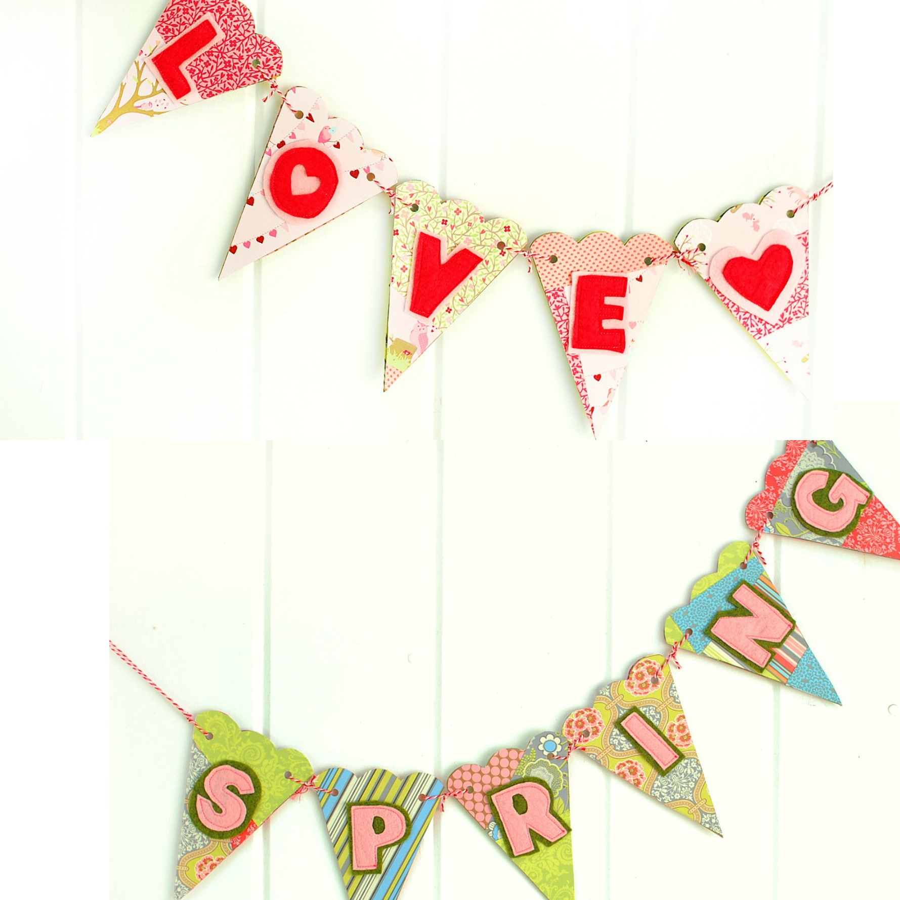 Reversible Banner for Valentines and Spring