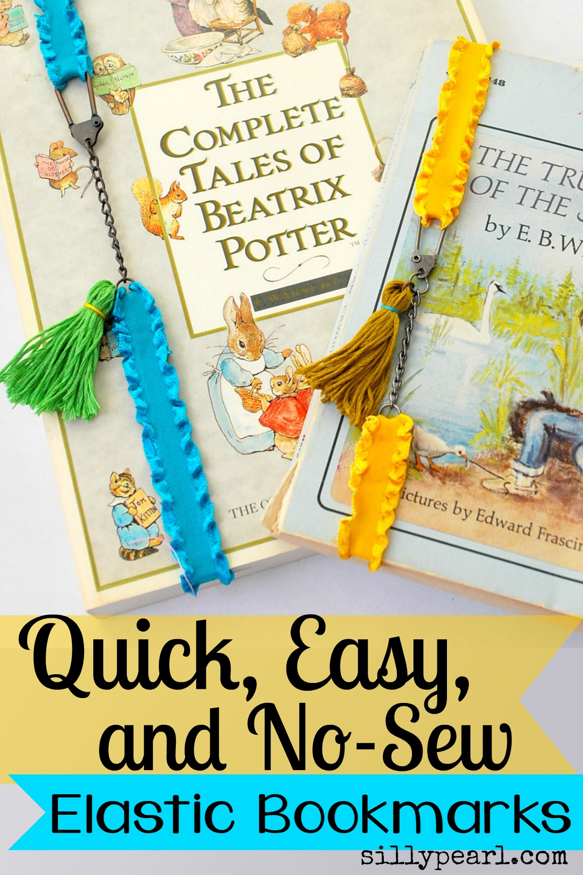 Easy No-Sew Elastic Bookmarks by The Silly Pearl