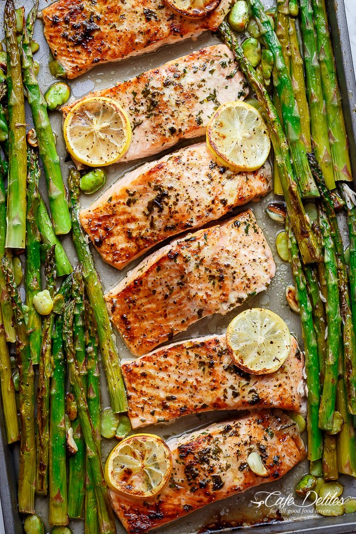 One-Pan-Baked-Lemon-Garlic-Salmon-Asparagus-Salmon Recipes