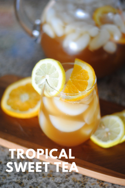 Anytime you want a refreshing drink, Tropical Sweet Tea is a nice fruity drink to whip up.