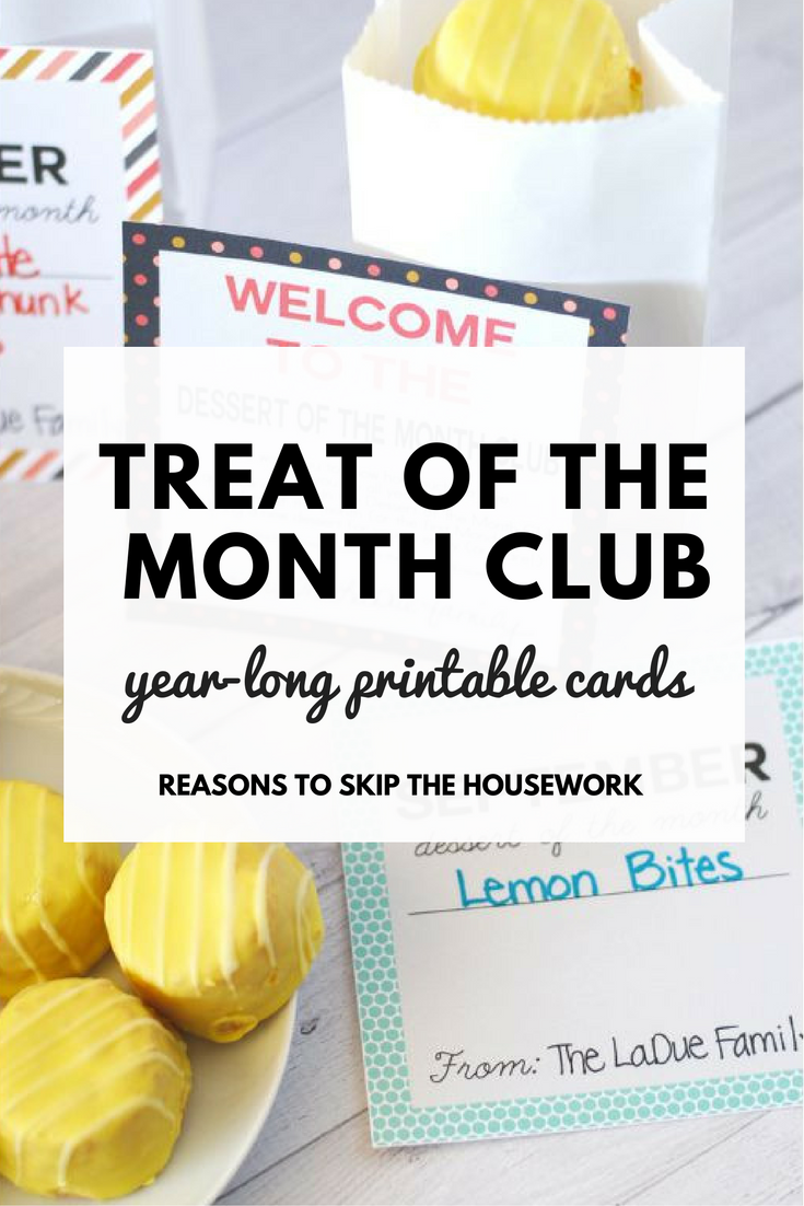 Teacher Gift Idea : Treat of the Month Cards are a great way to package up monthly gifts for teachers or neighbors!