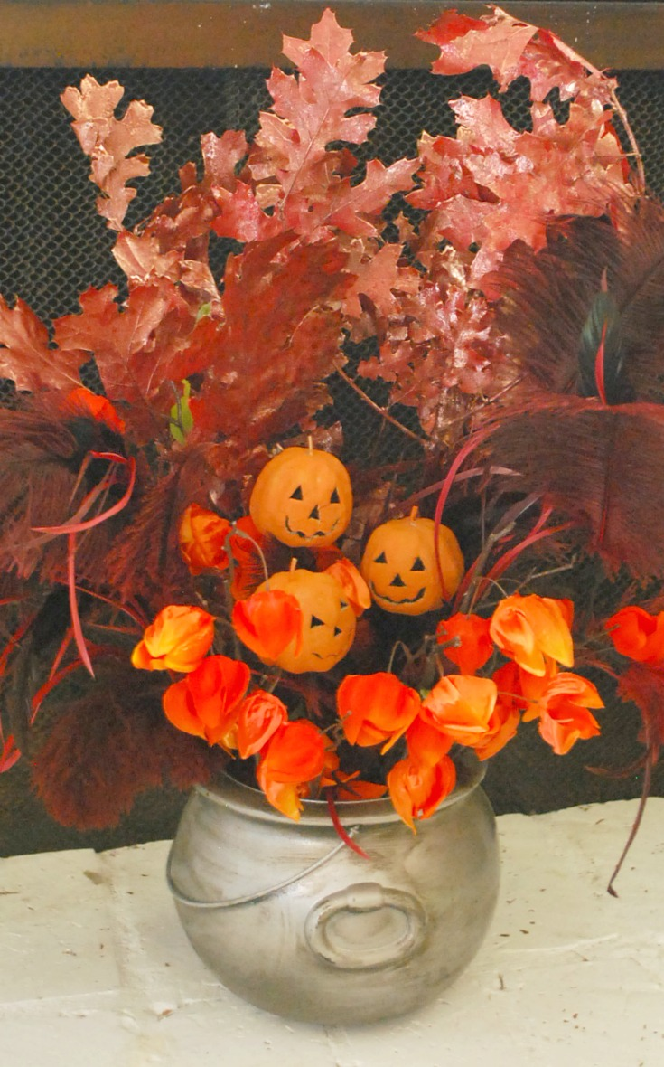 Pewter Cauldron Halloween Centerpiece