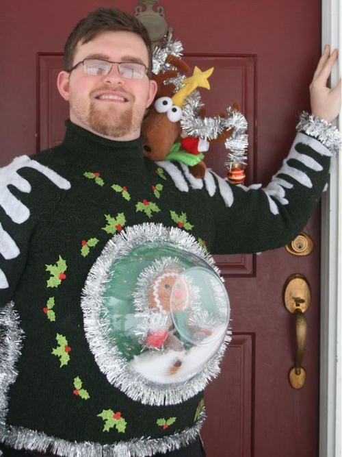 Snow Globe: If you are attending an ugly Christmas sweater party this year, we have got you covered! Here are 25 Ugly Christmas Sweater Ideas for you to use as inspiration.