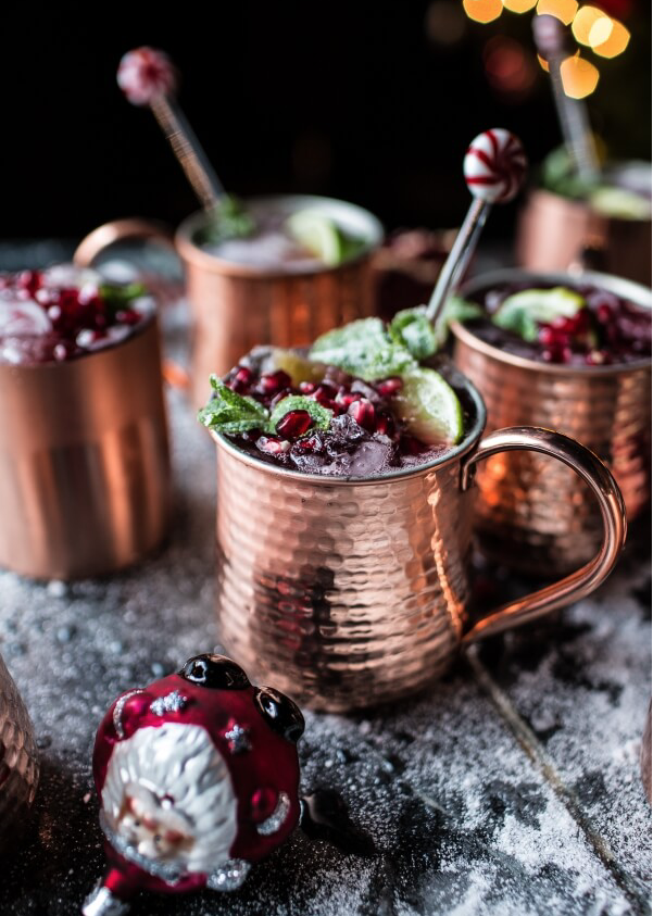 Pomegranate Peppermint Moscow Mule: Pumpkin flavors may dominate Fall, but Peppermint rules the holiday world! Here are 10 Peppermint Drinks that are sure to warm you up and get you in the Christmas spirit!