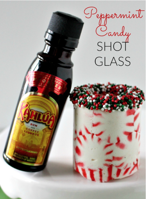 Peppermint Shot Glass: Pumpkin flavors may dominate Fall, but Peppermint rules the holiday world! Here are 10 Peppermint Drinks that are sure to warm you up and get you in the Christmas spirit!