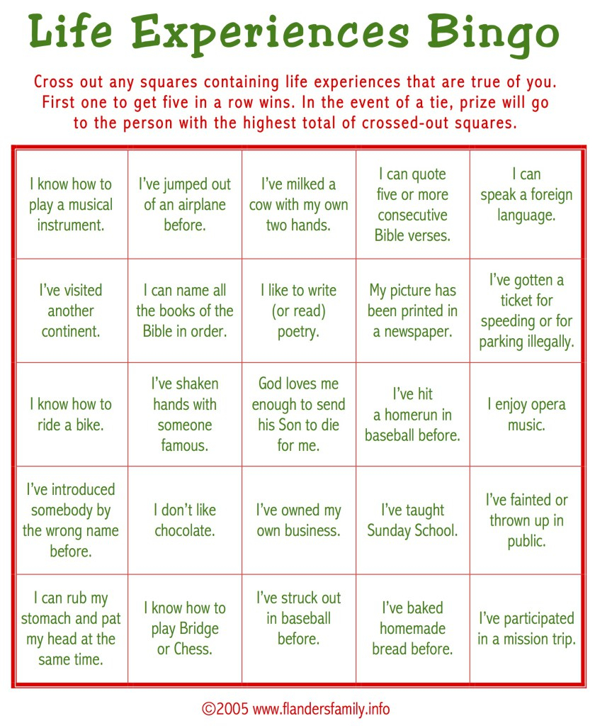 Group Party Games: Life Experiences Bingo