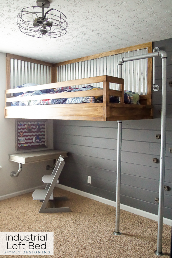 http://simplydesigning.porch.com/industrial-loft-bed-with-rock-wall-and-firemans-pole/