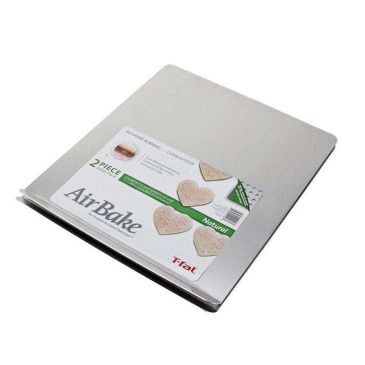 AirBake Natural 2 Pack Cookie Sheet Set - top baking sheet