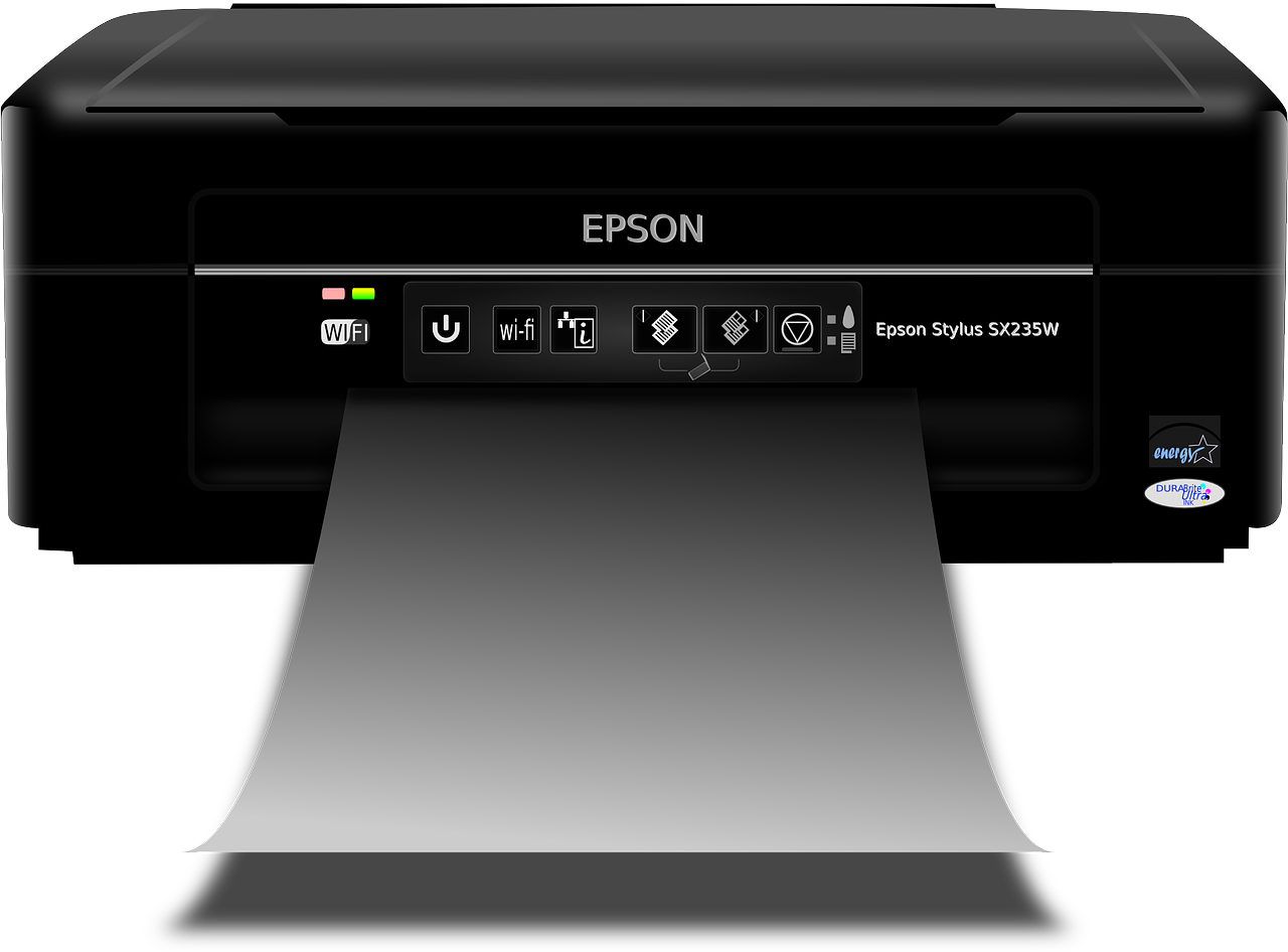 front view epson black printer