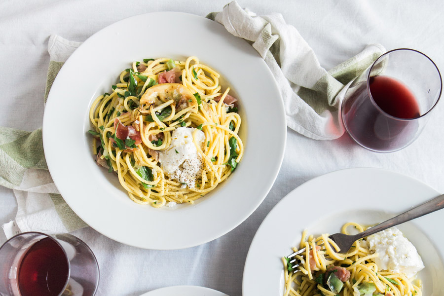 salmon linguine and wine