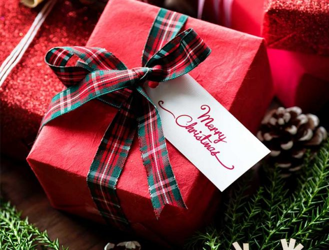 gift wrap in red